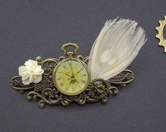 Barette flower Pocket Watch White Peacock feather hair clip