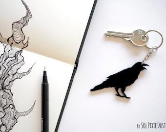 Key Ring - Crow Corvus Silhouette