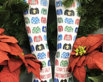 Ugly Christmas Sweater Socks - Personalized Ugly Christmas Sweater - Holiday Socks, Custom Printed Socks, Holiday Gift Idea, Christmas Gifts
