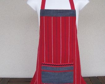 apron 3-6 years striped cotton