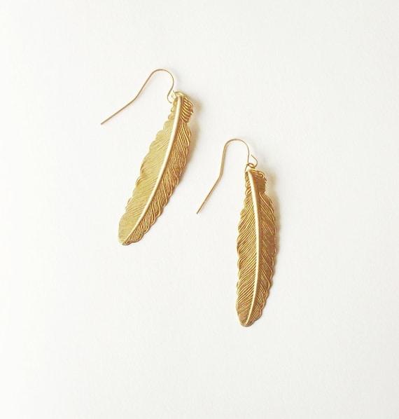 Gold Feather Earrings Boho Jewelry Bohemian Long Charm Free