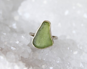 Green Seaglass Sterling Silver Ring 5
