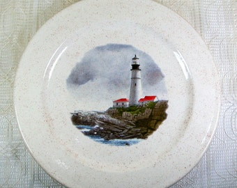 Handmade Ceramic Decorative Plate / Decorative Plate / Coastal Decor / Ceramic Plate with Lighthouse Decor / Decorative Dish