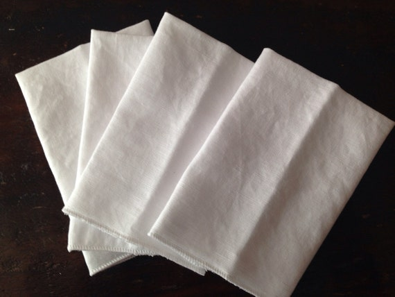 Reusable White Cotton and Linen Handkerchief Tissues Set of 4 with a Clean White Surged Edge by Smartkin