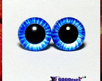 1 Pair Hand- Painted Blue Tiger Eyes, Plastic Eyes, Safety Eyes, Animal Eyes, Round Eyes