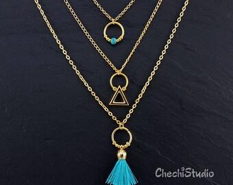 Layered Necklace Set, Boho Tassel Necklace, Layereing Necklace, Gold Tassel Necklace, Gypsy Necklace, Tassel Statement Necklace, Gift Her,