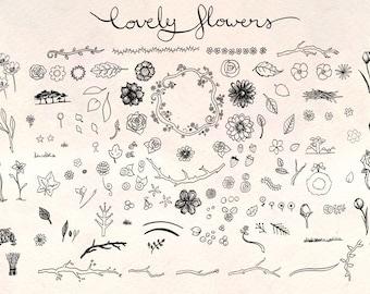 Lovely Flowers - 130+ Floral Elements - Vector Graphics Bundle!