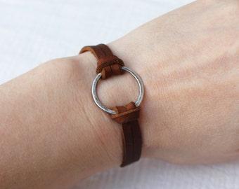 Leather Silver Sphere Bracelet