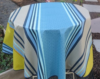 New and unique Stain resistant Easy care Oilcloth Stripes in blue and yellow French fabric