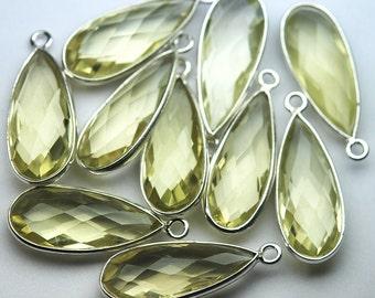 925 Sterling Vermeil Silver Lemon Quartz Faceted Pear Shape Pendant,5 of 23mm