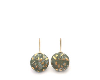 Olive Green Porcelain earrings, 18k gold jewelry, ceramic jewelry, Classic earrings, gift for mother, Slow fashion,  Statement earrings
