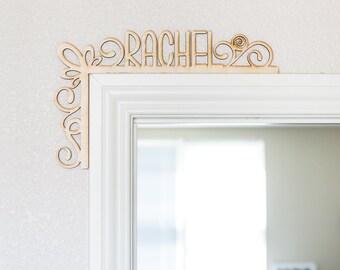 Custom Name Swirly Wood Door Topper - Laser Cut Wood Sign, Door Topper, Wood Cut Sign, Wood Sign Wall Decor, Rustic Wood Art, Home Decor