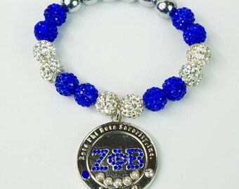 Zeta Phi Beta Five Pearl Silver Coin Bracelet - Crystal Balls