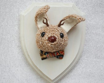 Faux Taxidermy Tan Jackalope With Paisley Bow