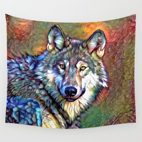 Wolf tapestry animal tapestry wolf wall decor nature