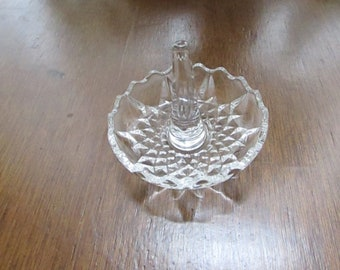 Crystal Ring Dish – Pillar Style Ring Holder with Hobnail Starflower Base – Vintage Glass Ring Dish