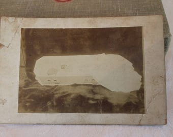 Antique Victorian Mourning Photograph of Post Mortem Child in Casket