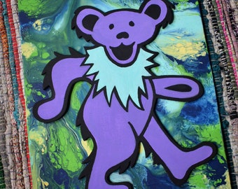 Colorful boho psychedelic double layer Grateful Dead Jerry Bear wall art abstract acrylic painting