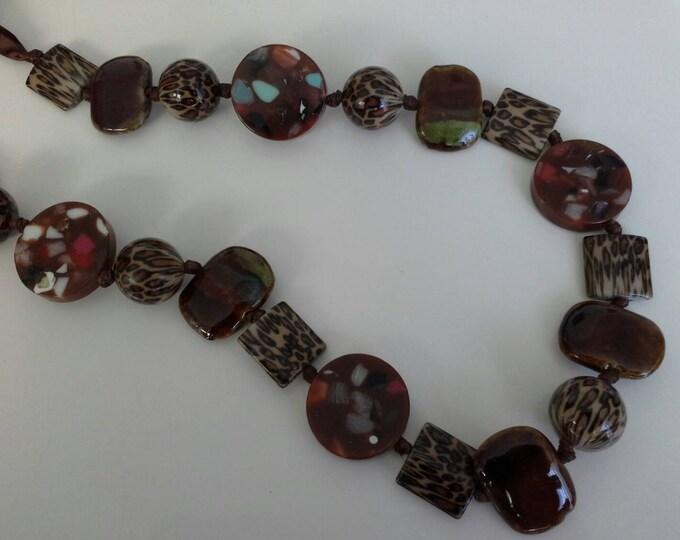 Earthen Leopard Printed Long Beaded Ribbon Necklace