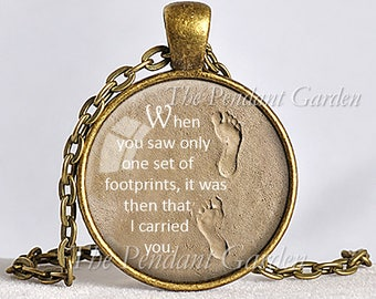 FOOTPRINTS in the SAND NECKLACE Footprints Poem Christian Jewelry Jesus Quote Gift for Christian Inspirational Jewelry Message Pendant