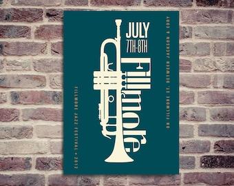 Jazz poster. Fillmore Jazz Festival. Fillmore Jazz poster.