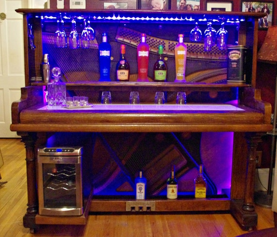 Piano Bar Re Purposed Upright Piano With Led Lighting And
