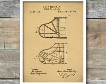 Patent Print Piano, Steinway Grand Piano Patent Poster, Music Room Decor, Piano Art, Musician Gifts, P259