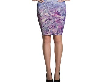 Zenfully Yours Watercolor Sea Pencil Skirt by Cassi