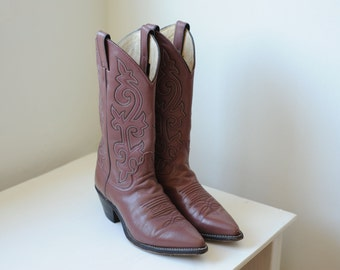 Vintage Justin Leather Western Cowboy Boots, Womens 7  / ITEM227