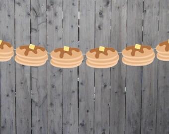 Pancake Garland, Pancake Banner, Pancakes and Pajamas, Slumber Party, Pancake Photo Prop, Pancake Decorations