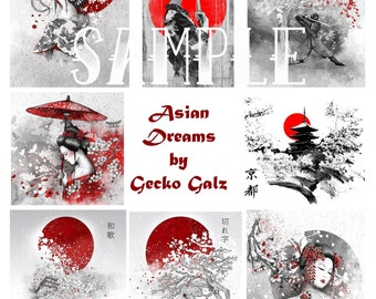 Asian Dreams Digital Collage Sheet