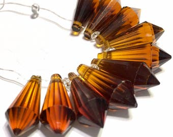 Coffee  color Faceted Crystal drop briolettes top drilled 18mm