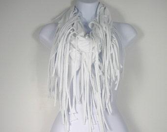 White Fringe Scarf Cotton Fringed Infinity Scarves Cotton Hippie Infinity Scarves Circle Scarves with Fringe  Fringed T Shirt Scarves