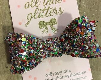 Glitter Multicolored Hair Bow