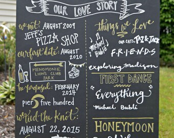WEDDING Chalkboard. Custom Love Story. Bridal Shower, Engagement or Wedding. Chalkboard Sign. Handmade. Hand lettered. 30x20 foam board.