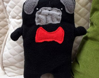 Oliver~ The Black Pug Bow Tie Bummlie ~ Stuffing Free Dog Toy ~ Ready To Ship Today - Red Bow Tie