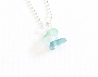 genuine sea glass necklace, ombre seaglass jewelry, beach glass necklace
