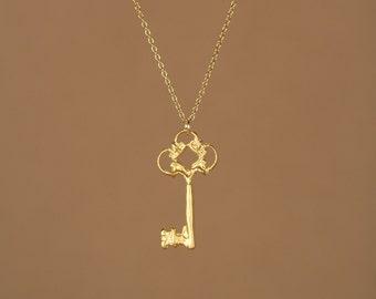 Gold key necklace - little gold key - key necklace - delicate - dainty - a tiny 22k gold overlay key on a 14k gold vermeil chain