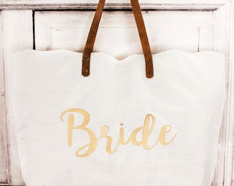Bridal Tote, Gift For Bride, Monogrammed Tote, Wedding Gift, Personalized Wedding, Bridal Shower Gift, Bridal Party Gift, Bridal Gift