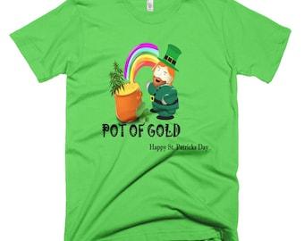 "Pot of Gold"" Cannabis Leprechaun St. Patricks Day Shirt"
