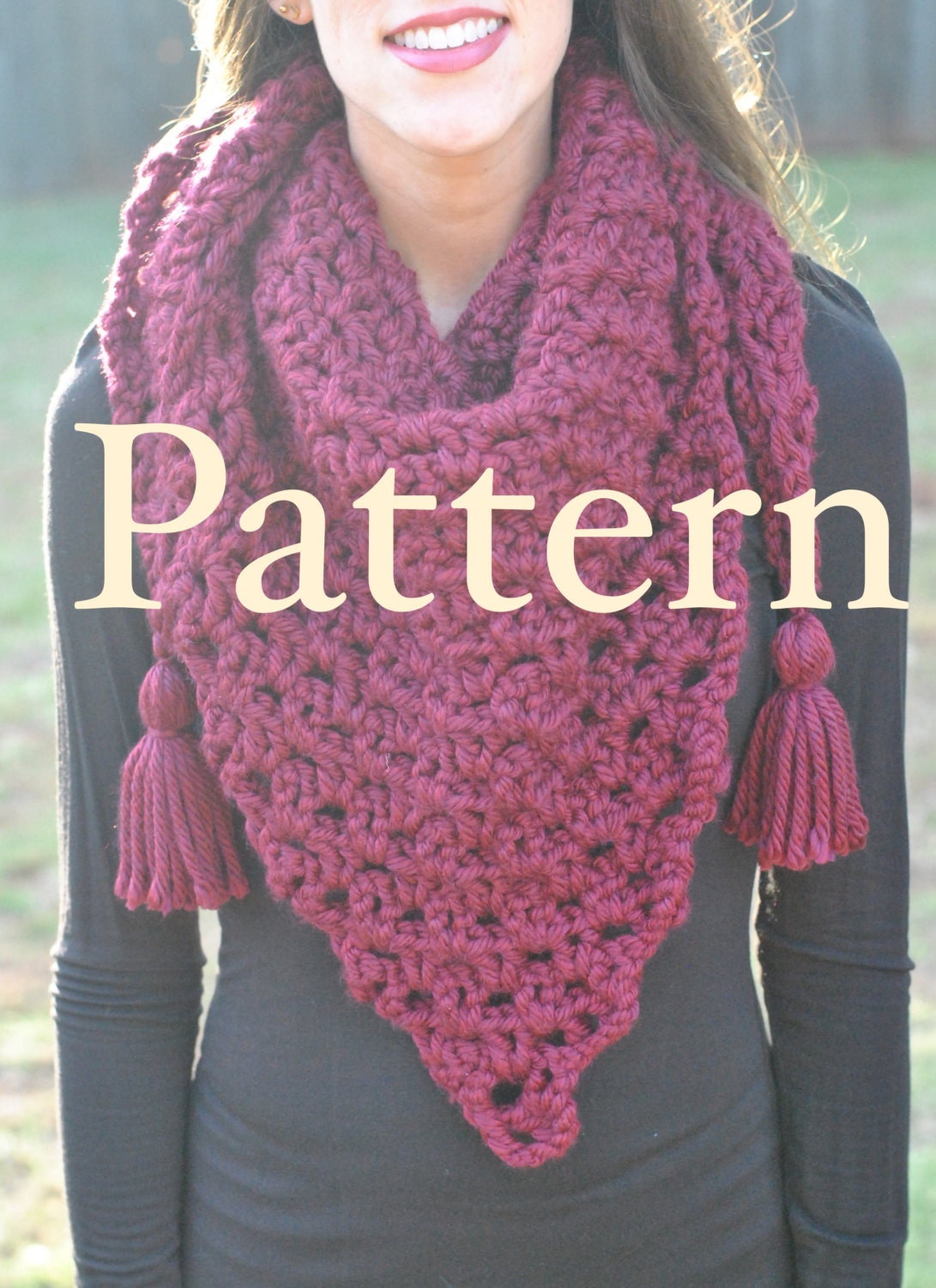 Dublin Bay Scarf PATTERN, Chunky Triangle Scarf Pattern, Large ...