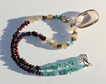 Rutilated Quartz, Golden Quartz, Garnet, Kyanite and 925 Silver, Pendant Necklace.