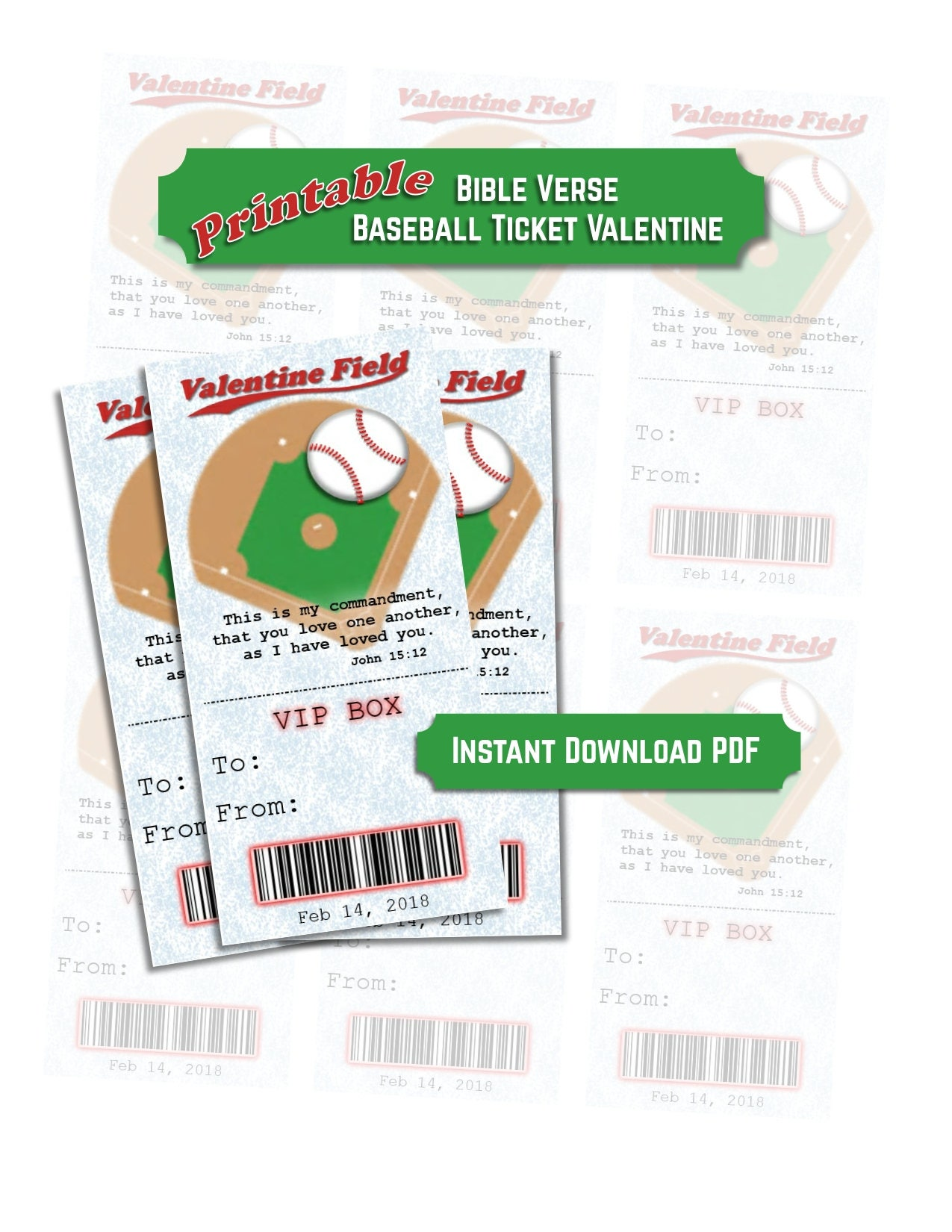 Printable Baseball Ticket Valentines with Bible Verse PDF