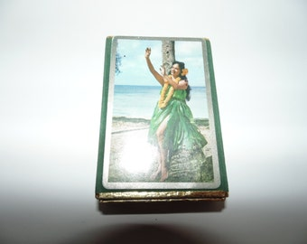 Vintage Hawaiian Hula Girl dancer playing cards Congress pinochle cel-u-tone finish