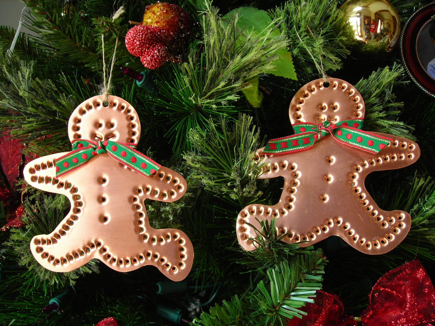 Running Gingerbread Men Ornaments Solid Copper Metal Two Piece