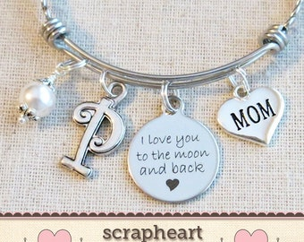 Personalized Gift for MOM, I Love You To The Moon And Back Mom Bracelet, Moon & Back Bangle Bracelet, Mother Jewelry, Initial Jewelry - 00