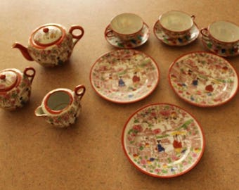Vintage Asian Teapot Set, Cream, Sugar, Plates, Cups and Saucers Made in Japan
