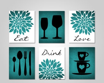 Kitchen Wall Art   Dining Room Wall Art   Kitchen Wall Decor   Dining Room Wall  Decor   Printable Wall Art   Teal Wall Art   Teal Kitchen