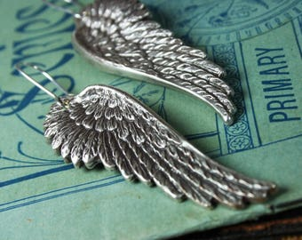 Wing Earrings - Oxidized Silver