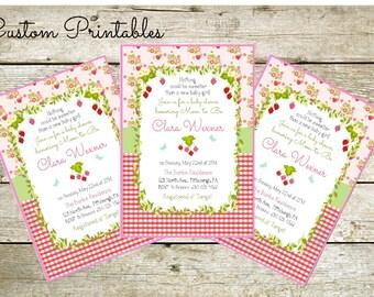 Printable Custom  Invitation, Baby Shower Invitation, Baby girl invitation, Strawberry Theme Invitation